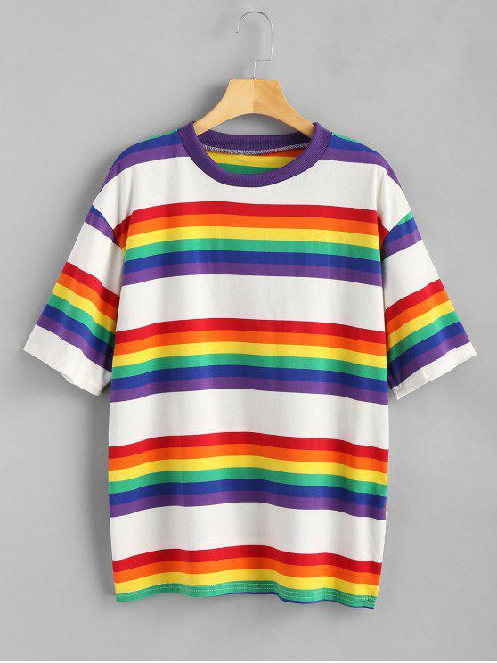 womens Rainbow Stripe Oversized Tee - MULTI ONE SIZE