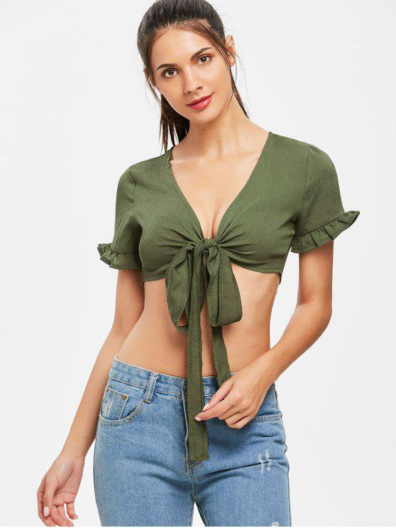 online Tie Front Ruffles Top - ARMY GREEN L