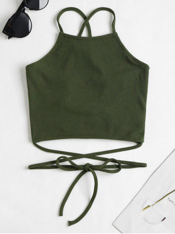 online Strappy Ribbed Cami Crop Top - ARMY GREEN M