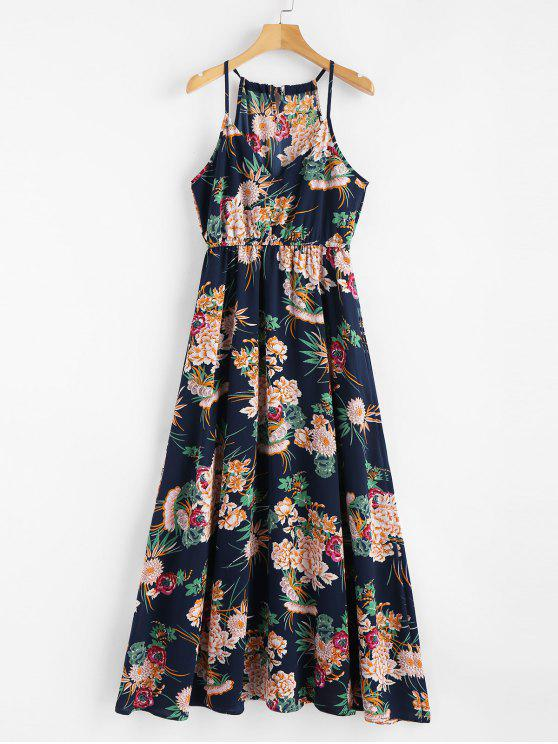 best Keyhole Floral Maxi Dress - CADETBLUE XL
