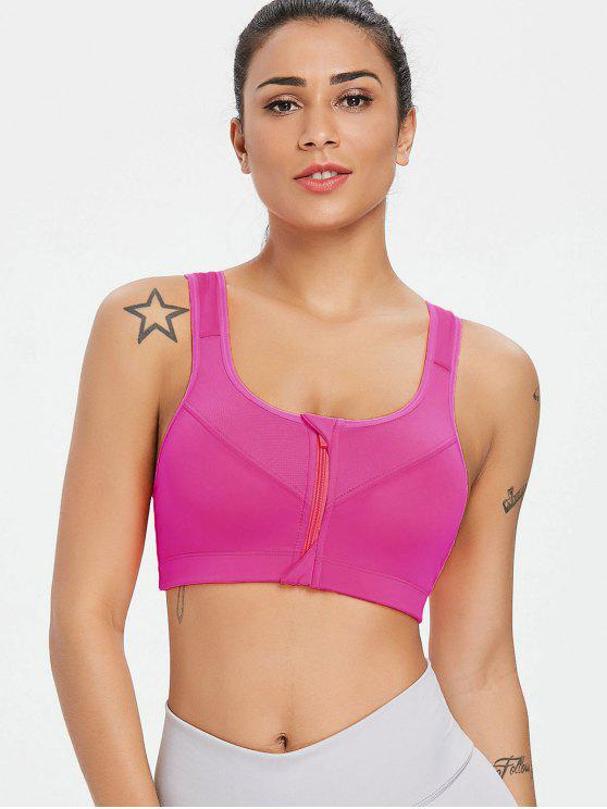 lady Zip Front Mid Impact Running Sports Bra - DEEP PINK M