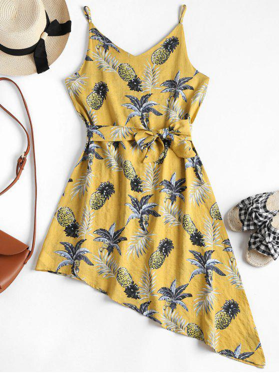 women Tropical Print Asymmetrical Slip Dress - YELLOW XL
