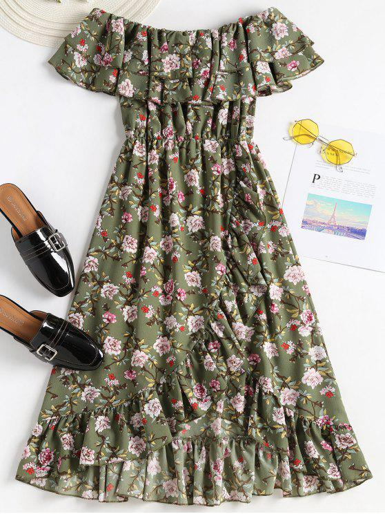 trendy Ruffles Off Shoulder A Line Dress - CAMOUFLAGE GREEN L