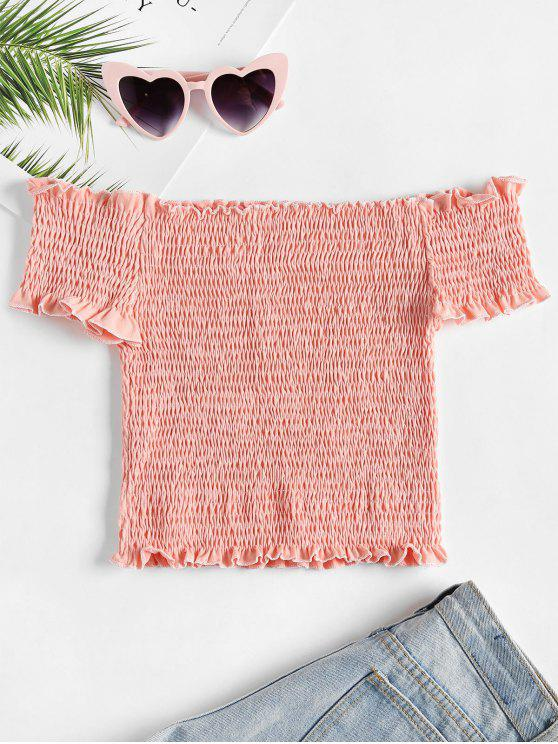 online Smocked Crop Off The Shoulder Top - LIGHT PINK ONE SIZE