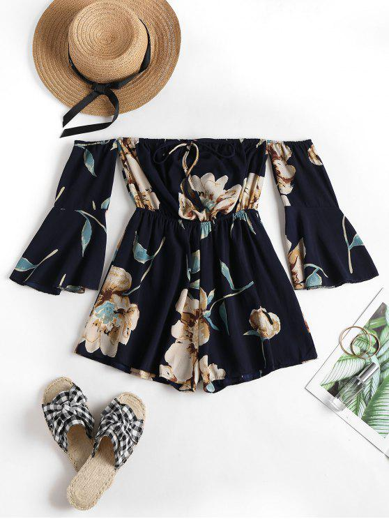 shop ZAFUL Fluted Sleeve Floral Off The Shoulder Romper - DEEP BLUE ONE SIZE