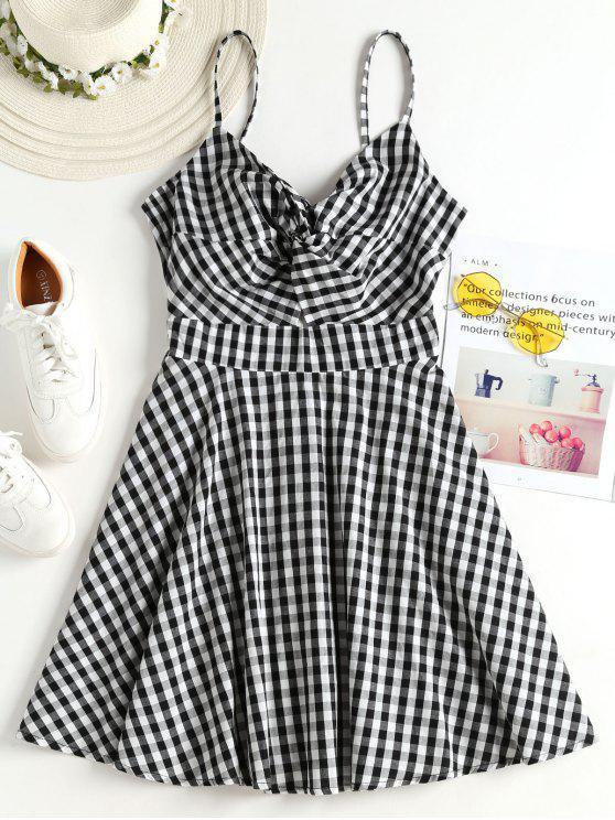 Mini-robe Camisole Torsadé et à Motif Vichy - Noir L