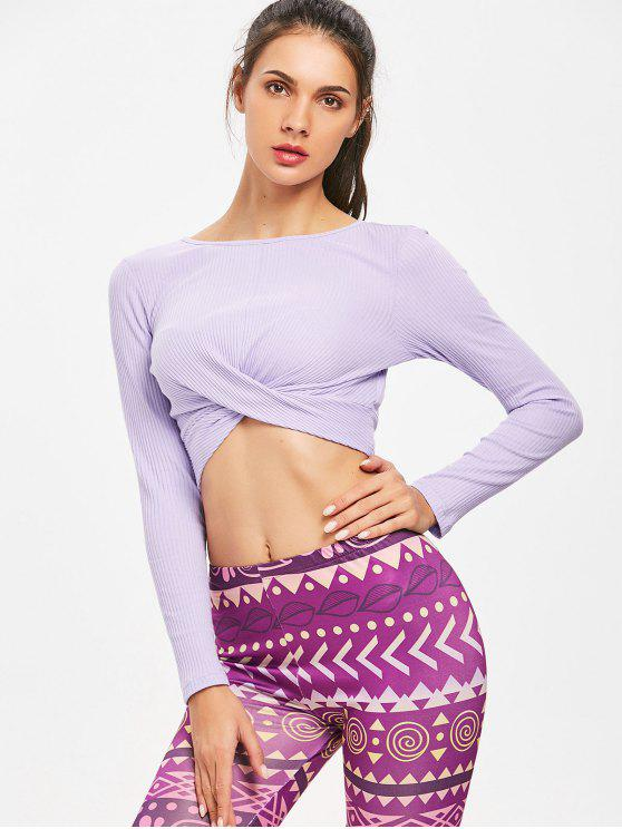 womens Twisted Long Sleeve Ribbed Crop Top - LAVENDER BLUE S