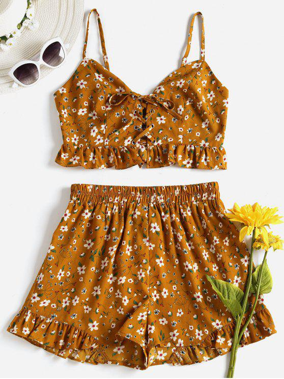affordable Lace Up Floral Shorts Set - ORANGE GOLD M