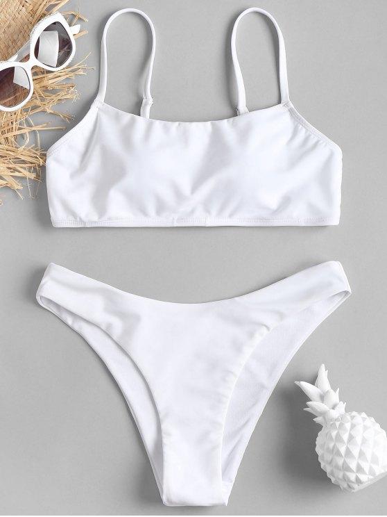Padding High Leg Bikini Set   White M by Zaful