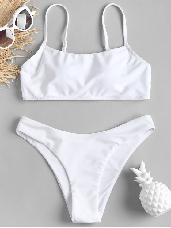 Conjunto de Bikini de pierna alta acolchado - Blanco L