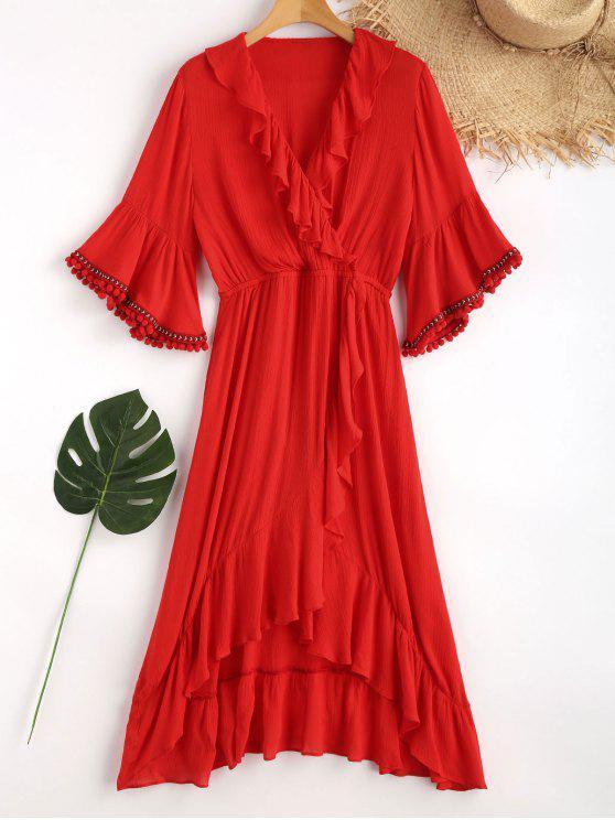 ladies Ruffles Asymmetric Maxi Beach Dress - LOVE RED L