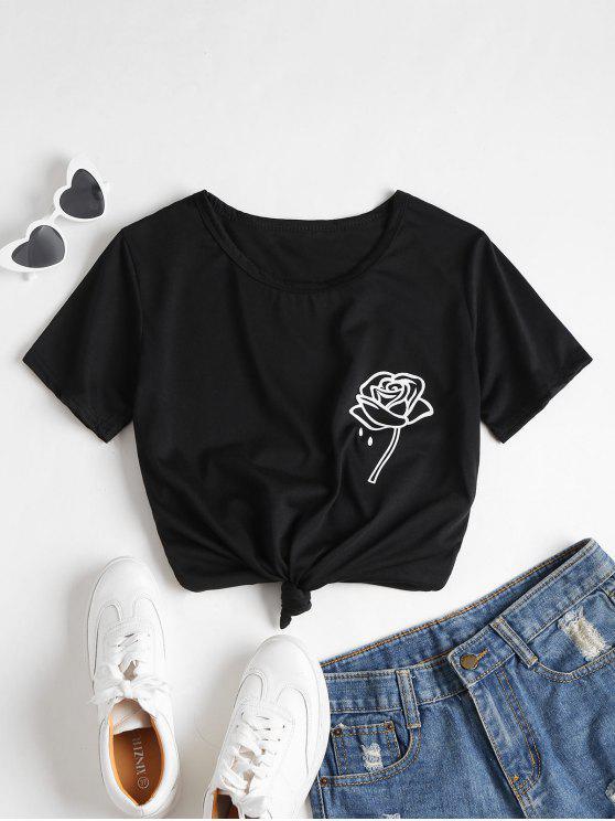 latest Rose Print Graphic Tee - BLACK L