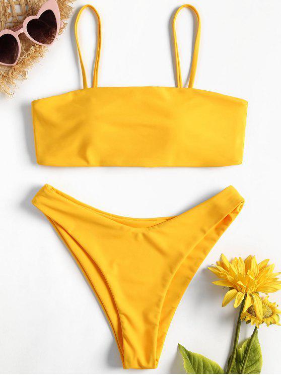 women's Classic Padded Bikini Set - BRIGHT YELLOW L