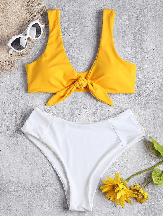 fashion Two Tone Tied High Waisted Bikini Set - BEE YELLOW L
