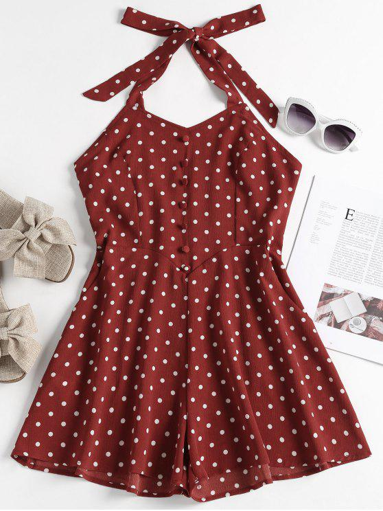 81eb486537b 27% OFF  2019 Buttoned Polka Dot Romper In RED WINE