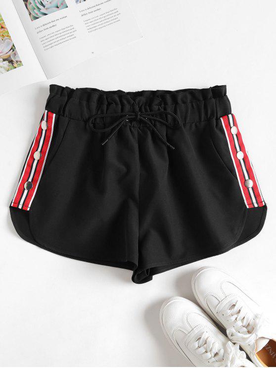 Shorts com botões remendos listrados - Preto L