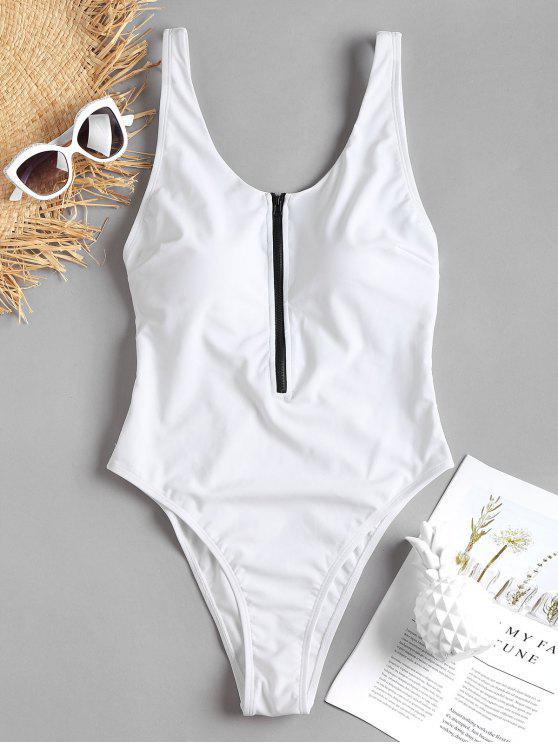 زيبر ملابس السباحة عالية الساق - أبيض M