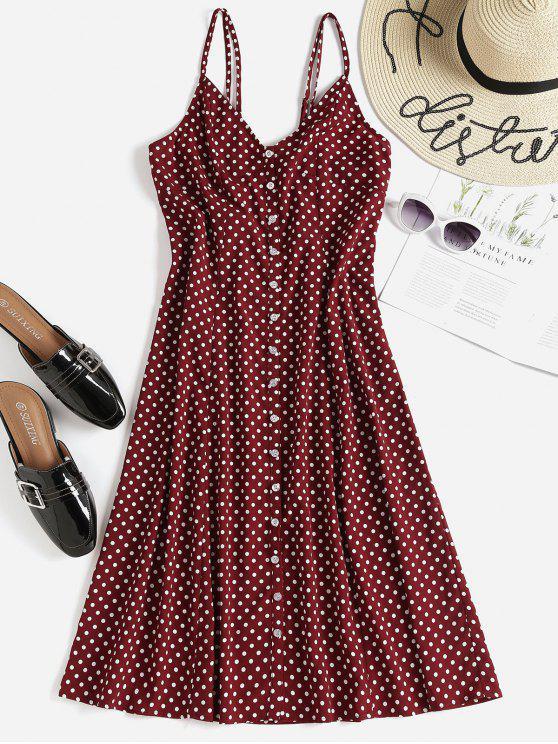 lady Polka Dot Button Up Midi Slip Dress - RED WINE M
