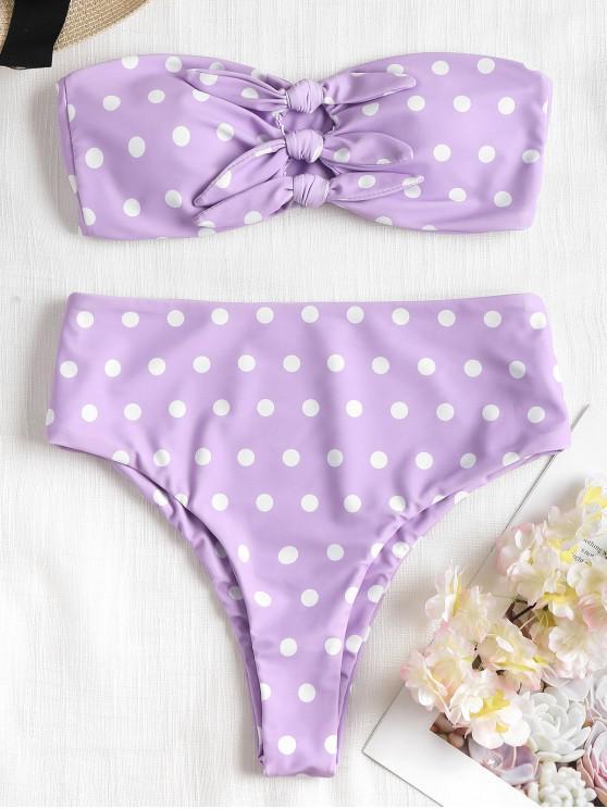unique Knot Polka Dot High Cut Bikini - MAUVE S