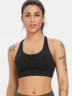 Ribbed Padded Mid Impact Sports Bra - Black M