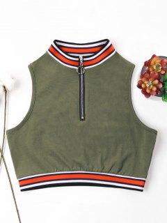 Camiseta Sin Mangas Con Cremallera Y Cuello Redondo - Verde Del Ejército Xl