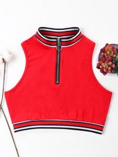 Camiseta Sin Mangas Con Cremallera Y Cuello Redondo - Amo Rojo M