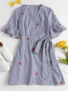 Stripes Embroidered Wrap Dress - Blue S