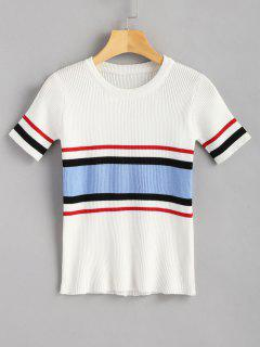 Ribbed Striped Top - White
