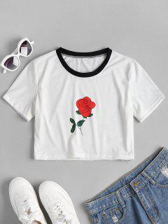 Rose Print Graphic Cropped Tee - White M