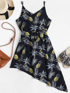 Tropical Print Asymmetrical Slip Dress - Dark Slate Blue M