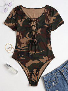 Camo Print Lace Up Snap Crotch Bodysuit - Woodland Camouflage M