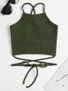 Strappy Ribbed Cami Crop Top - Army Green S