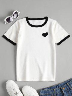 Herz Jacquard Strick Ringer T-Shirt - Weiß