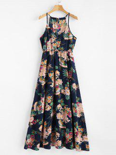 Keyhole Floral Maxi Dress - Cadetblue M
