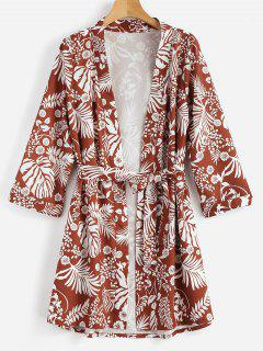 Tropical Belted Cover Up Blouse - Brown L