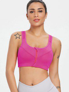 Zip Front Mid Impact Running Sports Bra - Deep Pink M