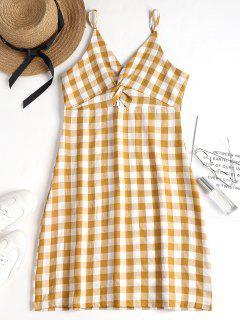 Twisted Gingham Print Cami Sun Dress - Multi M