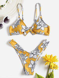 Bikini à Noeud à Fleurs - Moutarde  M