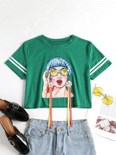 Floral Applique Figure Tee - Pine Green S