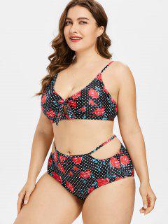 Bikini Con Estampado De Flores Y Lunares - Negro 3x