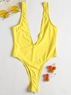Plunge Low Back Thong Swimsuit - Rubber Ducky Yellow S