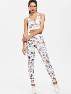 Printed Sports Bra Leggings Sweat Suit - White L