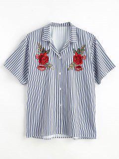Rose Patch Design Striped Print Shirt - Denim Dark Blue L