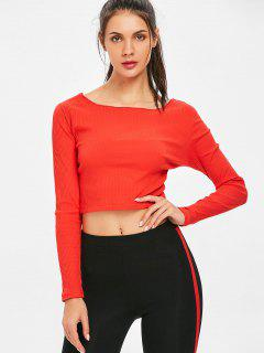 Long Sleeve Ribbed Twist Reversible Crop Top - Red M