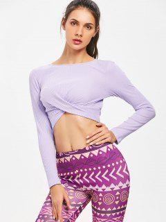 Twisted Long Sleeve Ribbed Crop Top - Lavender Blue M
