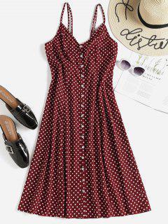 Polka Dot Button Up Midi Slip Dress - Red Wine L