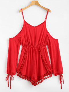 Cold Shoulder Tassels Long Sleeve Romper - Red M