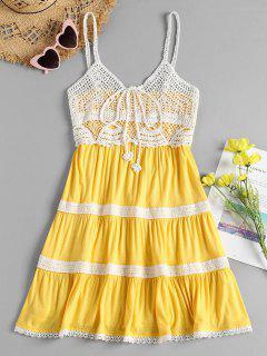 Vestido De Playa Cami De Panel De Ganchillo - Amarillo De Sol  S