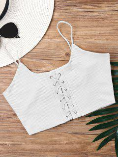 Knitted Lace Up Crop Tank Top - Milk White Xl
