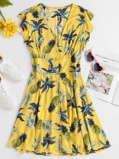 Robe Patineuse à Imprimé Tropical - Jaune De Maïs  S